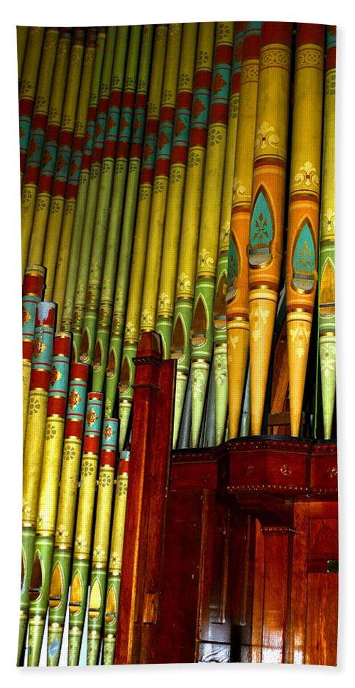 Organ Beach Sheet featuring the photograph Old Church Organ by Anthony Jones