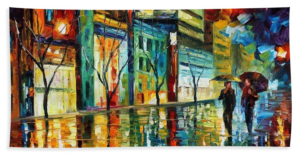 Afremov Beach Towel featuring the painting Old City by Leonid Afremov