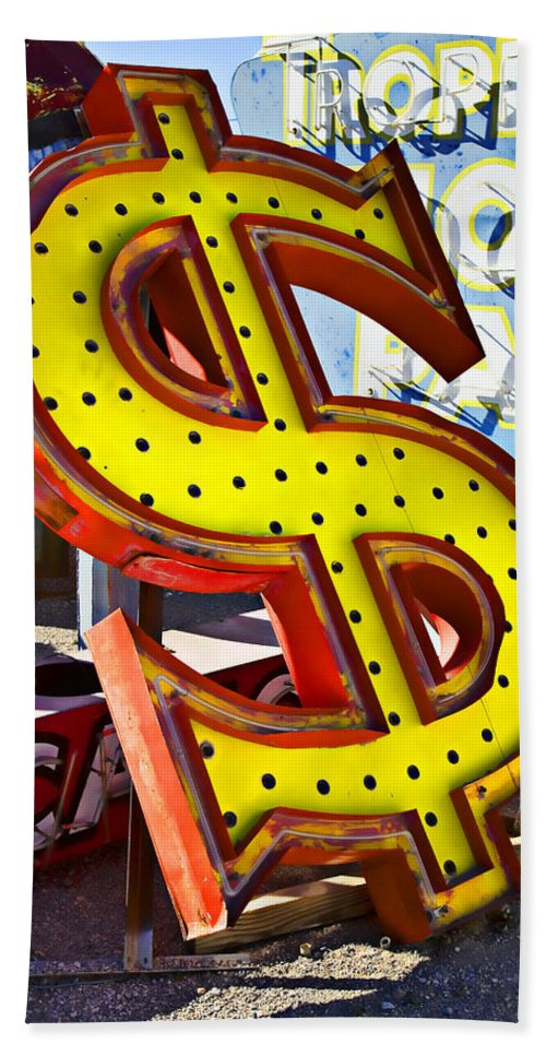 Old Dollar Sign Beach Towel featuring the photograph Old Dollar Sign by Garry Gay