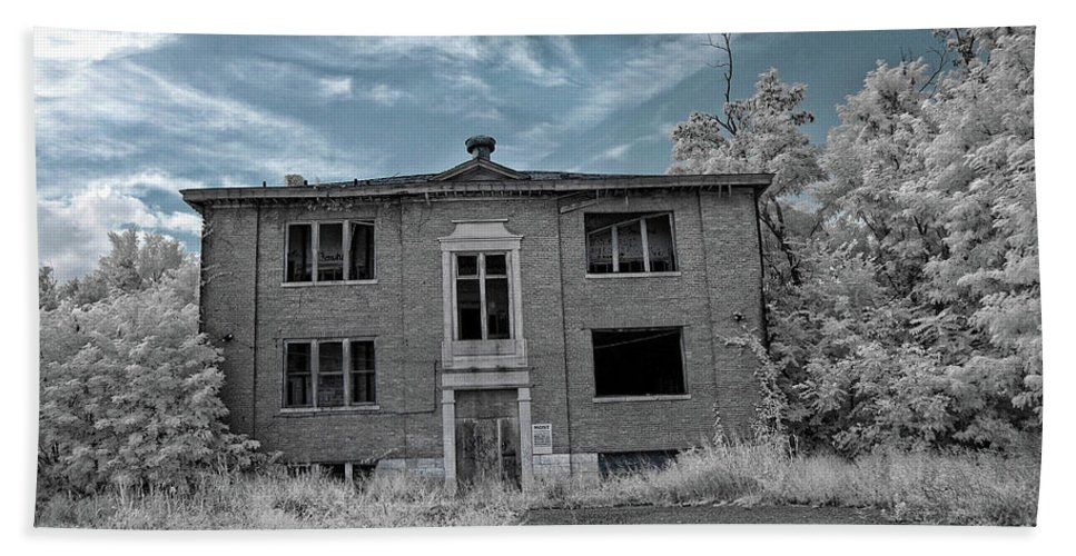 Old Beach Towel featuring the photograph Old Edmonton High School Ir 2 by Amber Flowers
