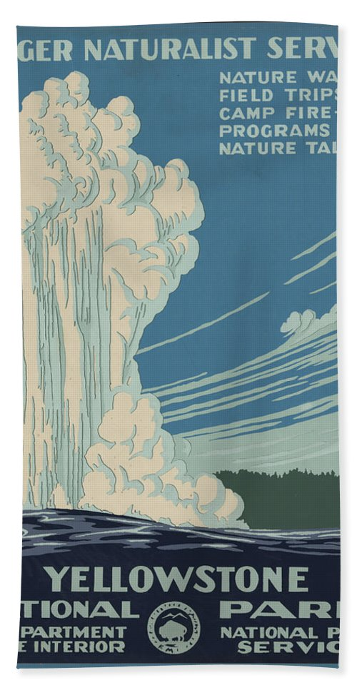Yellowstone National Park Beach Towel featuring the digital art Old Faithful At Yellowstone by Unknown
