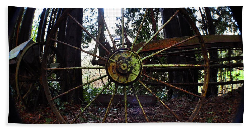 Clay Beach Towel featuring the photograph Old Farm Wagon Wheel by Clayton Bruster