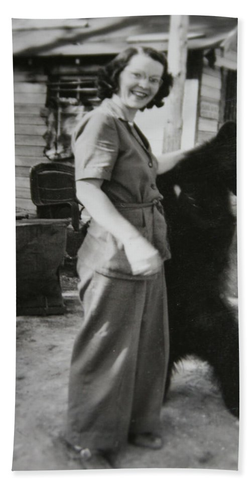 Bear Old Photo 1950s Wild Animal Bears Woman Black And White Antique Beach Towel featuring the photograph Old Friends by Andrea Lawrence