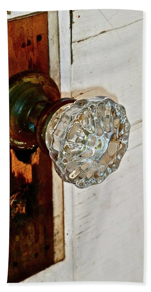 Old Door Beach Towel featuring the photograph Old Glass Doorknob by Diana Hatcher