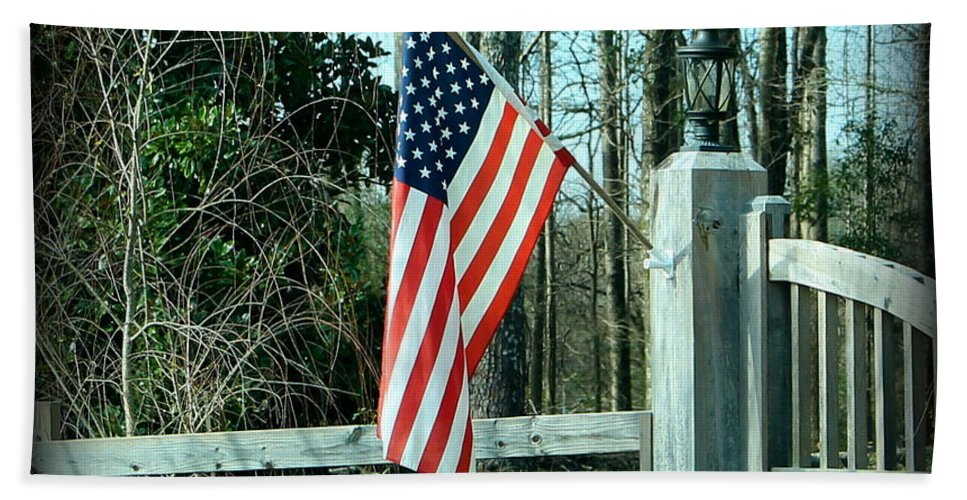 American Beach Towel featuring the photograph Old Glory by Elaine Entrekin