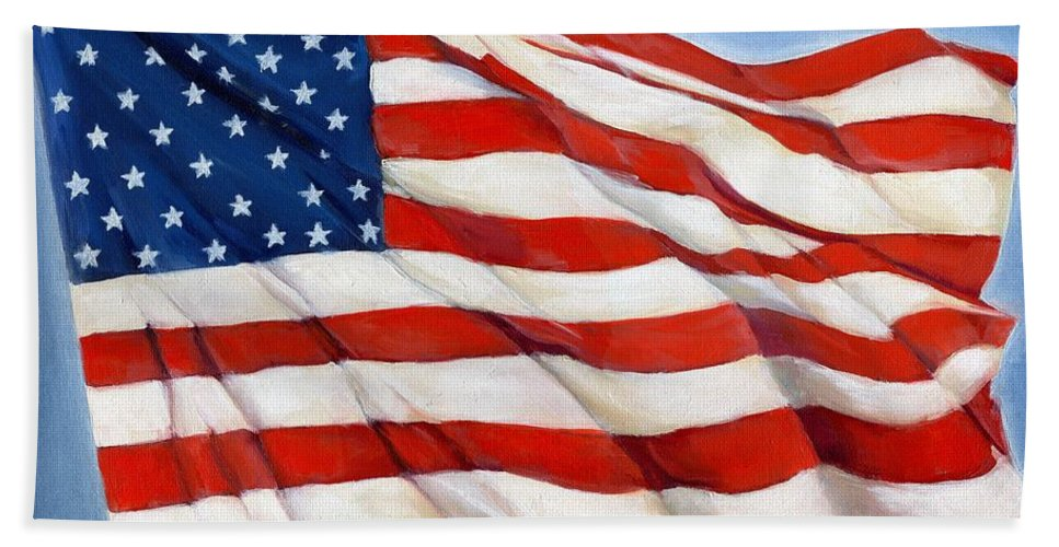 Usa Beach Towel featuring the painting Old Glory by Paige Briscoe