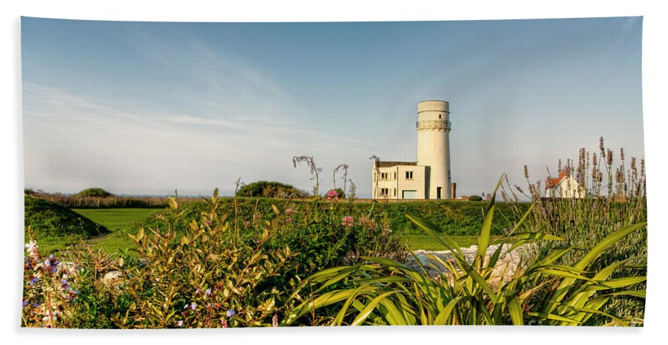Lighthouse Beach Towel featuring the photograph Old Hunstanton Lighthouse North Norfolk Uk by John Edwards
