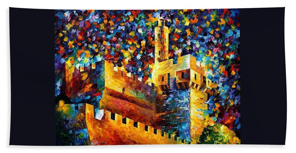 Afremov Beach Towel featuring the painting Old Jerusalem by Leonid Afremov