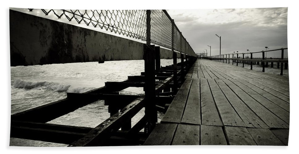 Old Beach Sheet featuring the photograph Old Jetty by Kelly Jade King