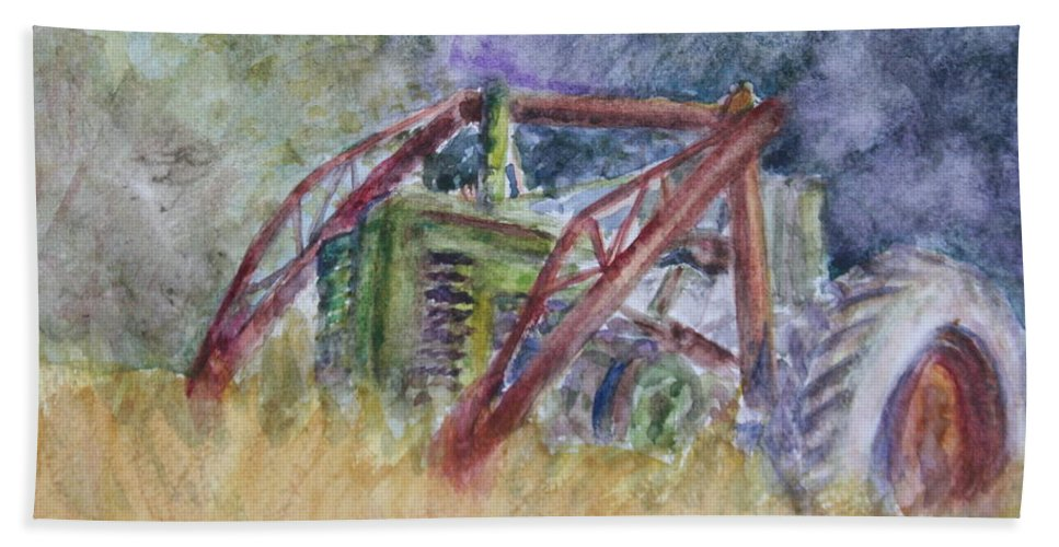Watercolor Beach Towel featuring the painting Old John Deere Tractor In The Back 40 by Quin Sweetman