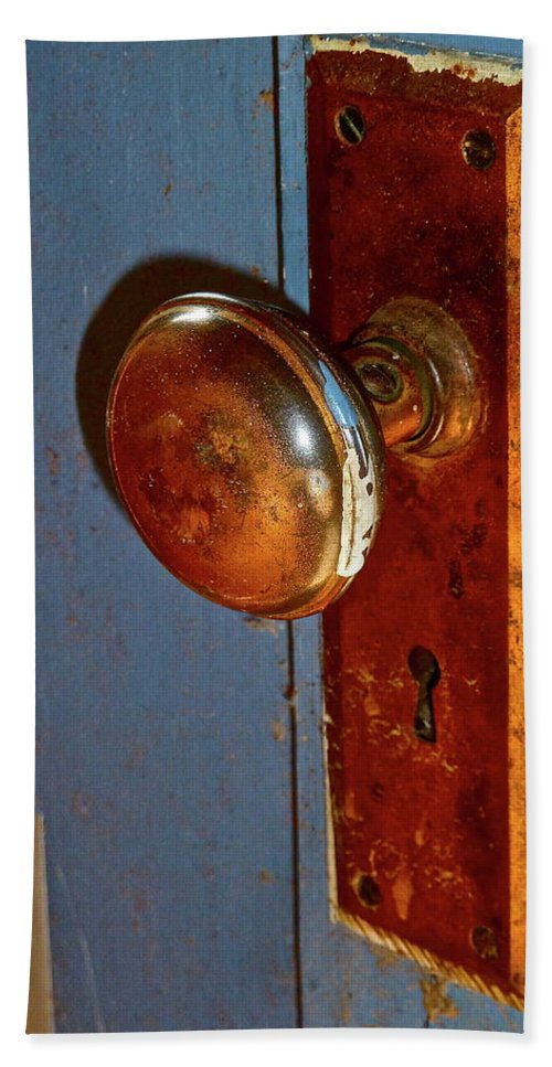 Old Doorknob Beach Towel featuring the photograph Old Knob On Blue Door by Diana Hatcher