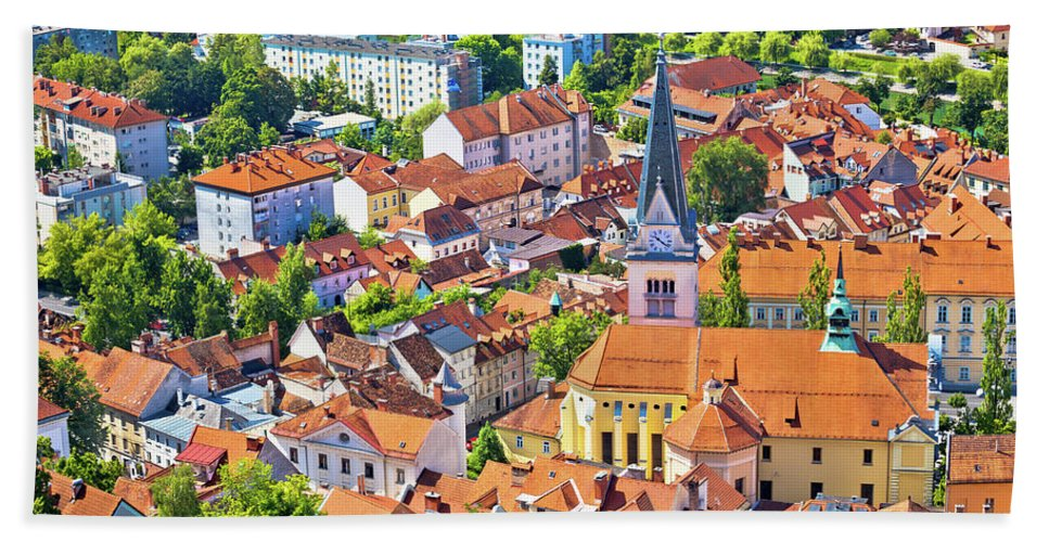 Slovenia Beach Towel featuring the photograph Old Ljubljana Cityscape Aerial View by Brch Photography