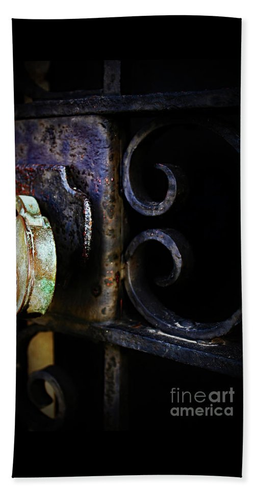 Old Beach Towel featuring the photograph Old Lock On A Cast Iron Gate by Don Baker