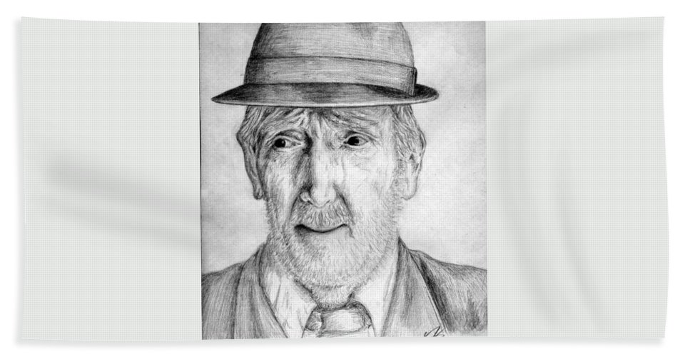 Man Beach Sheet featuring the drawing Old Man With Hat by Nicole Zeug