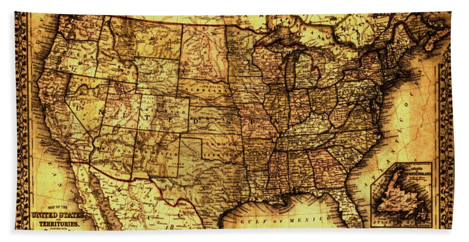 Old Map United States Beach Towel For Sale By Lucia Sirna - Old-map-of-us