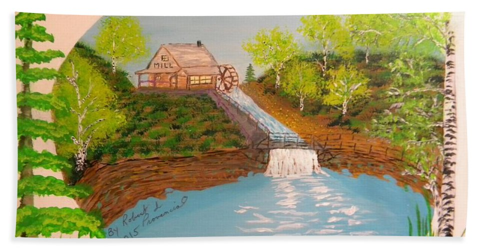 Old Mill Beach Towel featuring the painting Old Mill And Falls by Robert Provencial