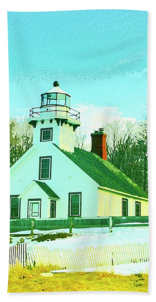 Old Mission Beach Towel featuring the mixed media Old Mission Point Lighthouse by Dominic Piperata