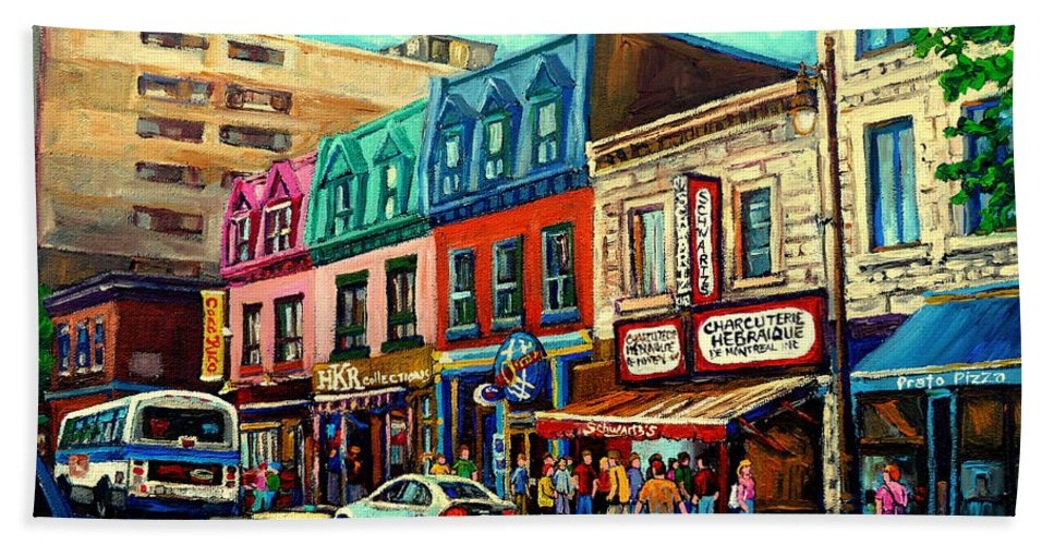 Old Montreal Schwartzs Deli Plateau Montreal City Scenes Beach Towel featuring the painting Old Montreal Schwartzs Deli Plateau Montreal City Scenes by Carole Spandau
