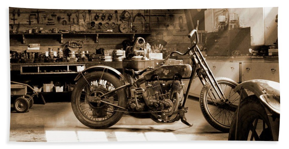 Motorcycle Beach Towel featuring the photograph Old Motorcycle Shop by Mike McGlothlen