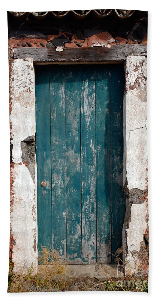 Abandoned Beach Sheet featuring the photograph Old Painted Door by Gaspar Avila
