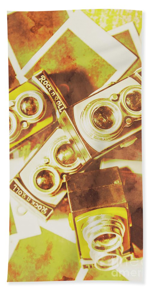 Old Beach Towel featuring the photograph Old Photo Cameras by Jorgo Photography - Wall Art Gallery
