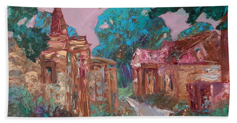 Landscape Beach Towel featuring the painting Old Place by Sergey Ignatenko