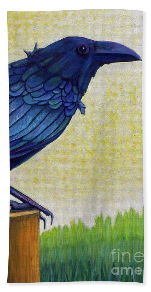 Raven Beach Towel featuring the painting Old Priest In Passion by Brian Commerford