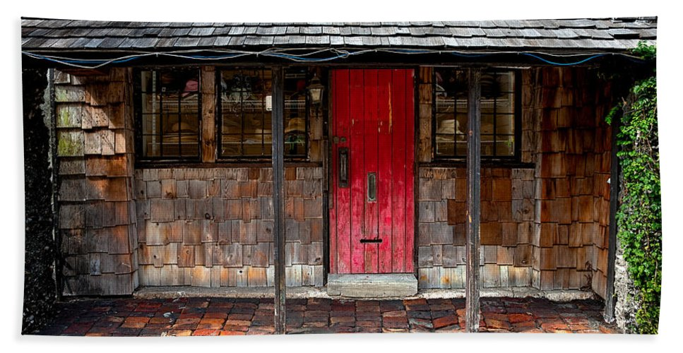 Door Beach Towel featuring the photograph Old Red Door by Christopher Holmes