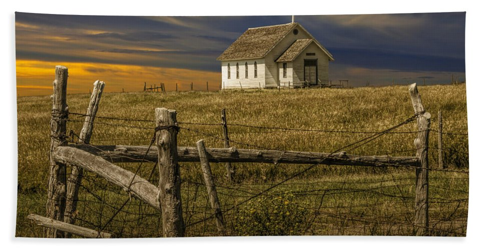 Church Beach Towel Featuring The Photograph Old Rural Country At Sunset By Randall Nyhof