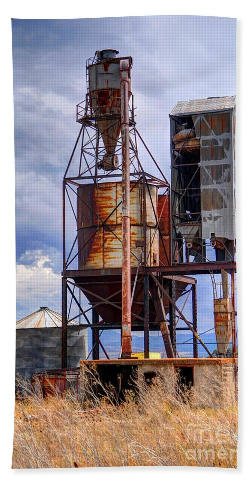 Old Beach Towel featuring the photograph Old Rusted Grain Silo - Utah by Gary Whitton