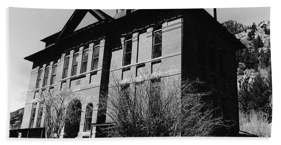 B&w Beach Towel featuring the photograph Old School House by Katherine W Morse