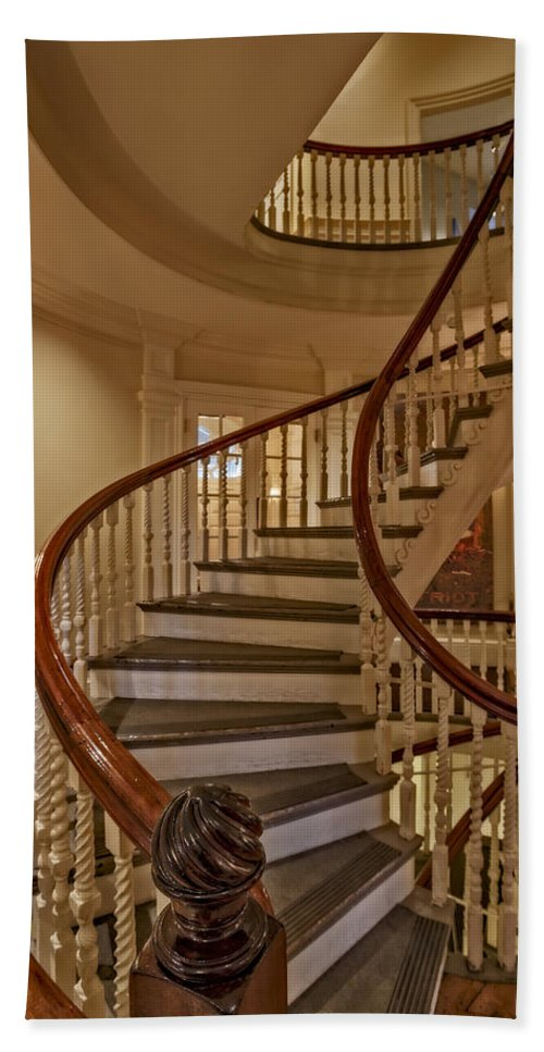 Massachusetts Old State House Beach Sheet Featuring The Photograph Old  State House Spiral Staircase By Susan