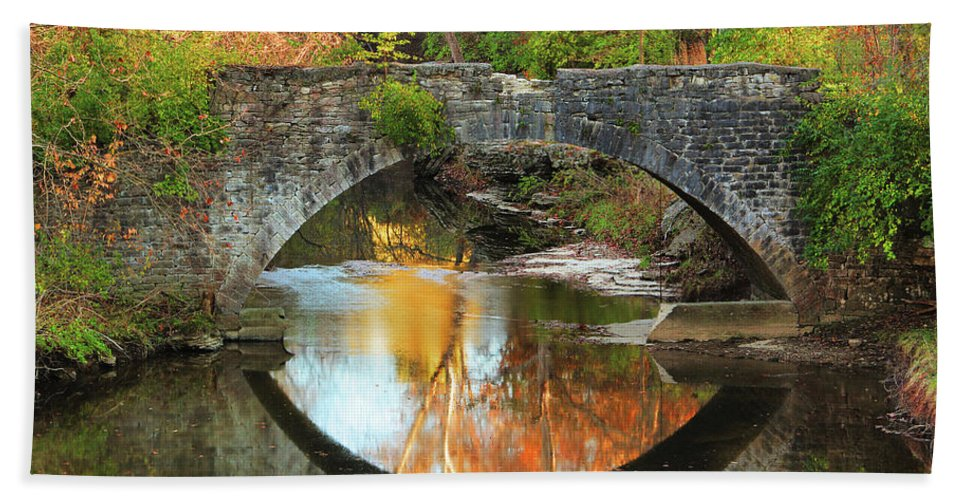 Stone Bridge Beach Towel featuring the photograph Old Stone Bridge Over Fountain Creek 2 by Greg Matchick