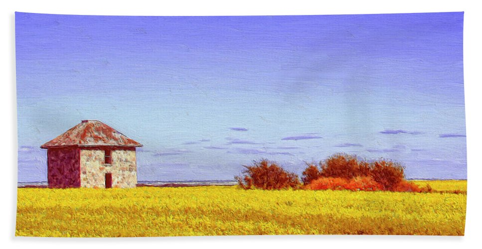 Farmhouse Beach Towel featuring the painting Old Stone Farmhouse Tuscany by Dominic Piperata