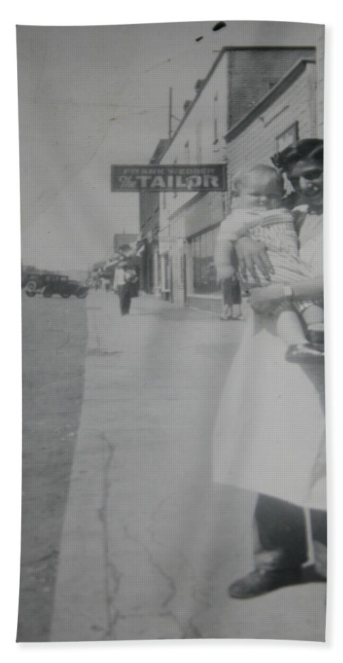 Old Street 1950 Road Store Black And White Photographs Long Ago Classic Beach Towel featuring the photograph Old Street by Andrea Lawrence