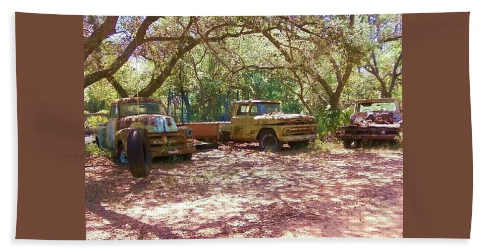 Trucks Beach Towel featuring the photograph Old Time Trucks by Michelle Powell