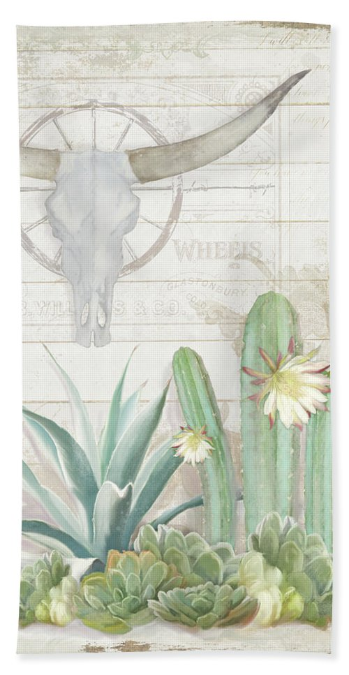 Old West Cactus Garden W Longhorn Cow Skull N Succulents Over Wood ...