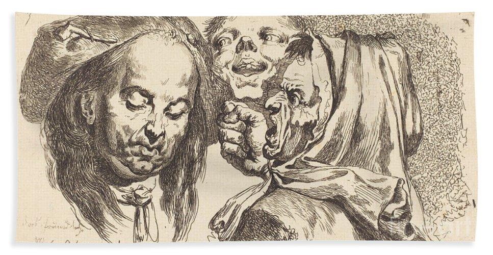 Beach Towel featuring the drawing Old Woman Scolding A Man by Johann Eleazar Schenau