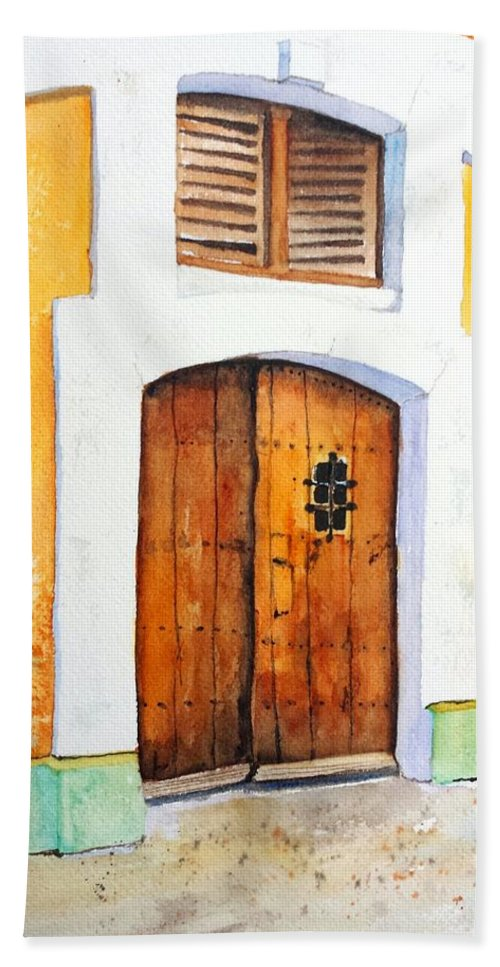 Door Beach Towel featuring the painting Old Wood Door Arch And Shutters by Carlin Blahnik CarlinArtWatercolor