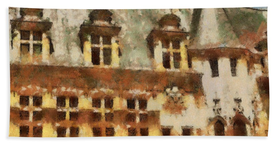 France Beach Towel featuring the painting Old World by Paulette B Wright