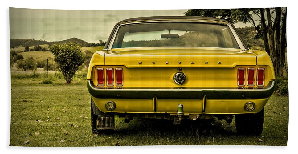 Old Mustangs For Sale >> Old Yellow Mustang Rear View In Field Beach Towel