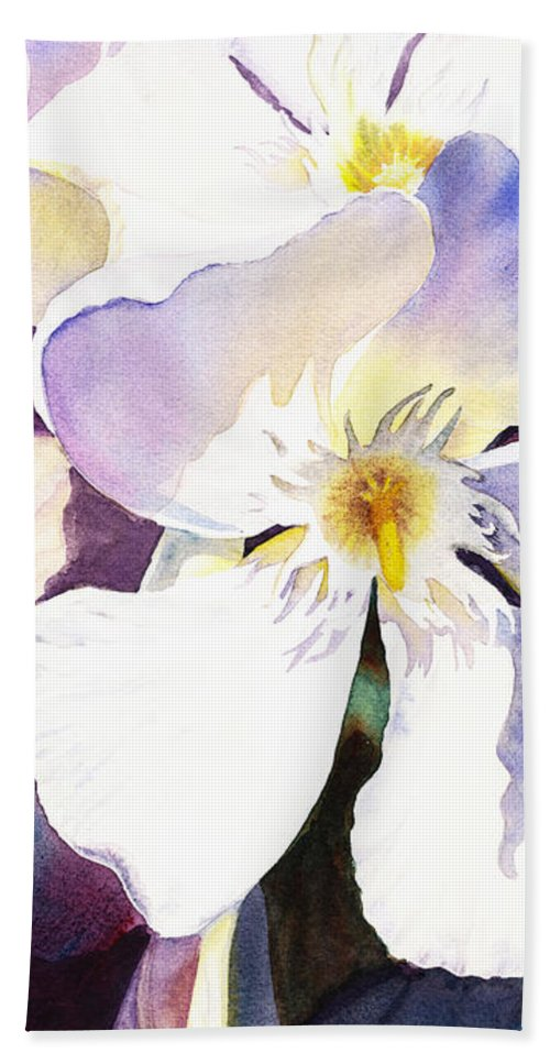 Oleander Beach Towel featuring the painting Oleander Flower By Irina Sztukowski by Irina Sztukowski