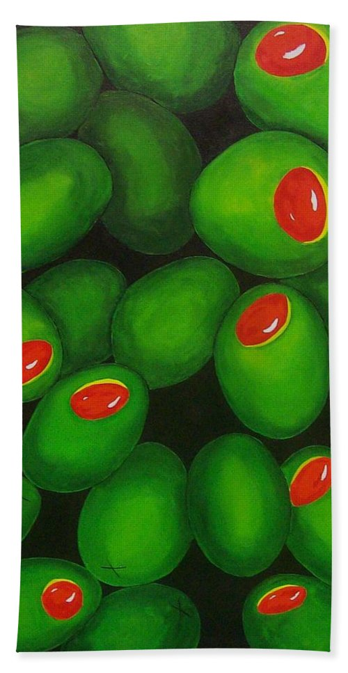 Olive Beach Towel featuring the painting Olives by Micah Guenther