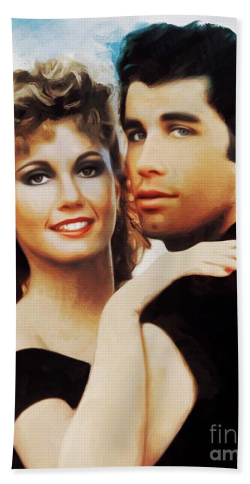 Olivia Newton-john And John Travolta, Grease Beach Towel