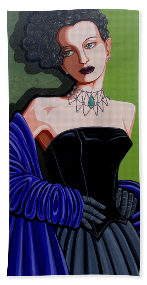 Portrait Beach Towel featuring the painting Olivia by Tara Hutton