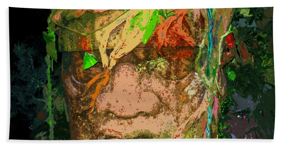 Toltec Beach Towel featuring the painting Olmec Man by David Lee Thompson