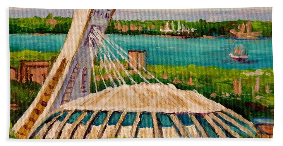 The Olympic Stadium Beach Towel featuring the painting Olympic Stadium Montreal by Carole Spandau