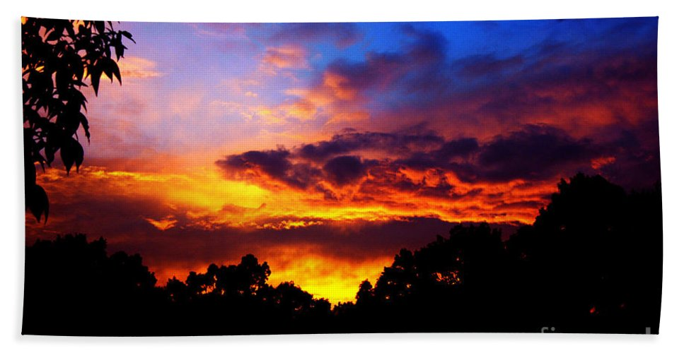 Clay Beach Towel featuring the photograph Ominous Sunset by Clayton Bruster