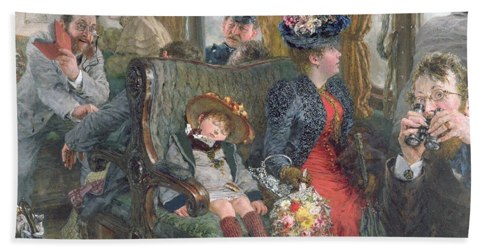 Journey Beach Towel featuring the painting On A Journey To Beautiful Countryside by Adolph Friedrich Erdmann von Menzel