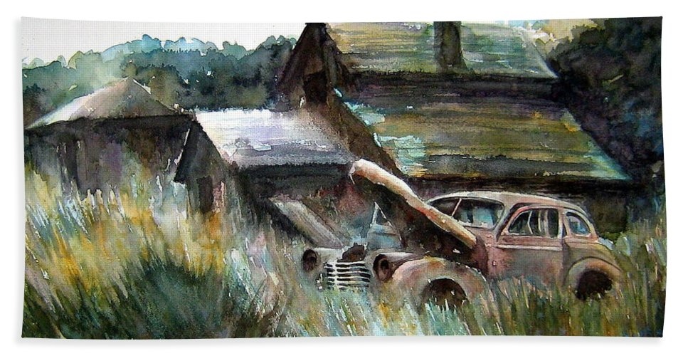 Car Barn Trees Beach Towel featuring the painting On Borrowed Time by Ron Morrison